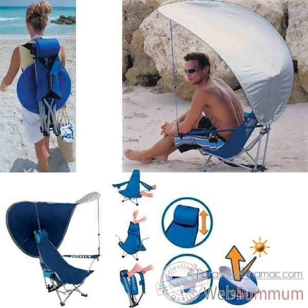Video Chaise de plage sac a dos avec canopy anti UV Kelsyus a 2 positions colori bleu argent -80012