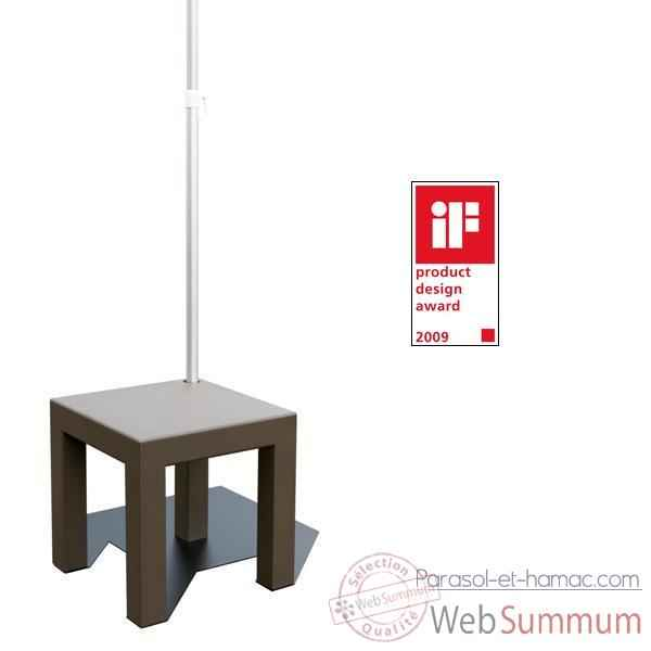Table pied de parasol Sywawa Table Socle Hole in One marron tube44 -7238BROWN